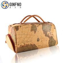 One shoulder travel bag travel bag vintage bag map portable women's handbag big capacity luggage