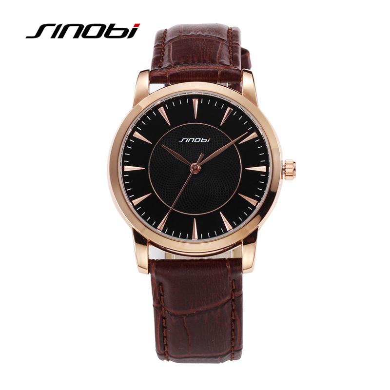Men Watch SINOBI 8126 Business Watch Causal Wrist Quartz-Watch Mens Brown Leather Waterproof Automatic Couple Wristwatches <br><br>Aliexpress