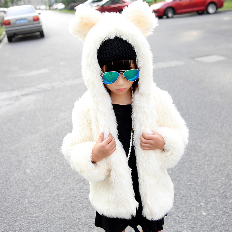 Winter Jacket Girls Fur Coat Teddy Bear Hat Leather Grass Thick Warm Coat Girls Faux Fur Coat Kids Black / White / Leopard FY(China (Mainland))