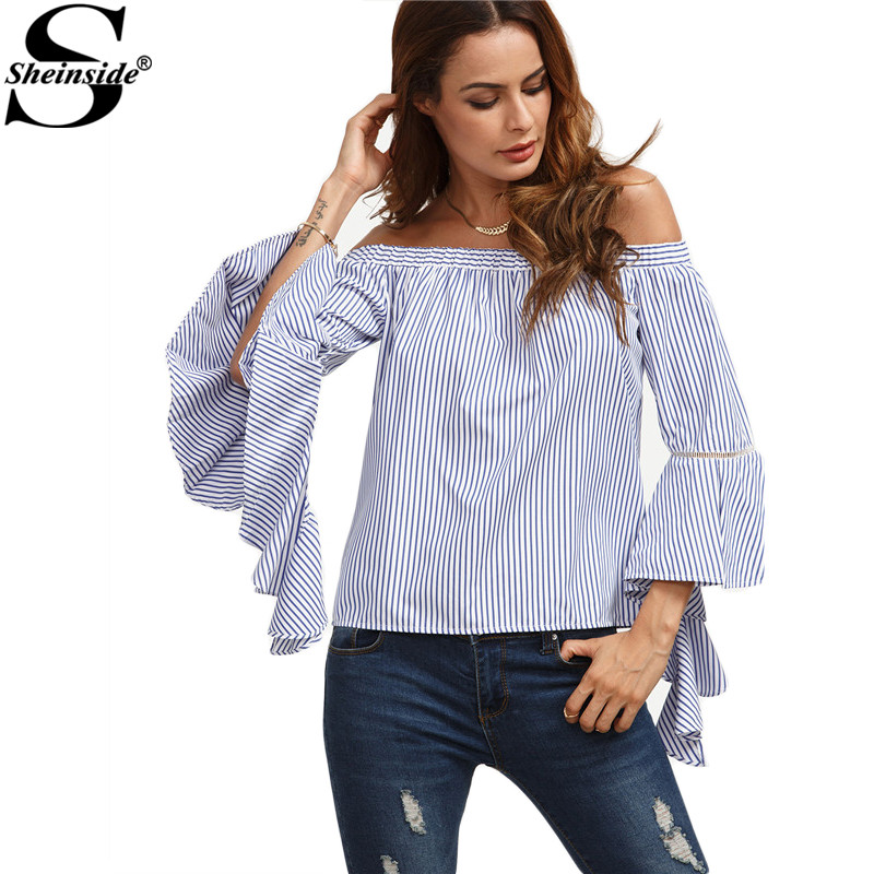 Sheinside Blue and White Striped Off The Shoulder Ruffle Long Flare Sleeve Women Shirts Fashion Summer Work Wear Blouse(China (Mainland))