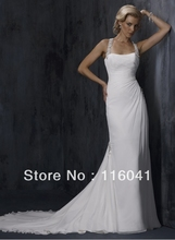 Halter Chiffon Beaded Jewel Back Sexy Wedding Dresses High Quality Famous Designer Sheath Fit Body(China (Mainland))