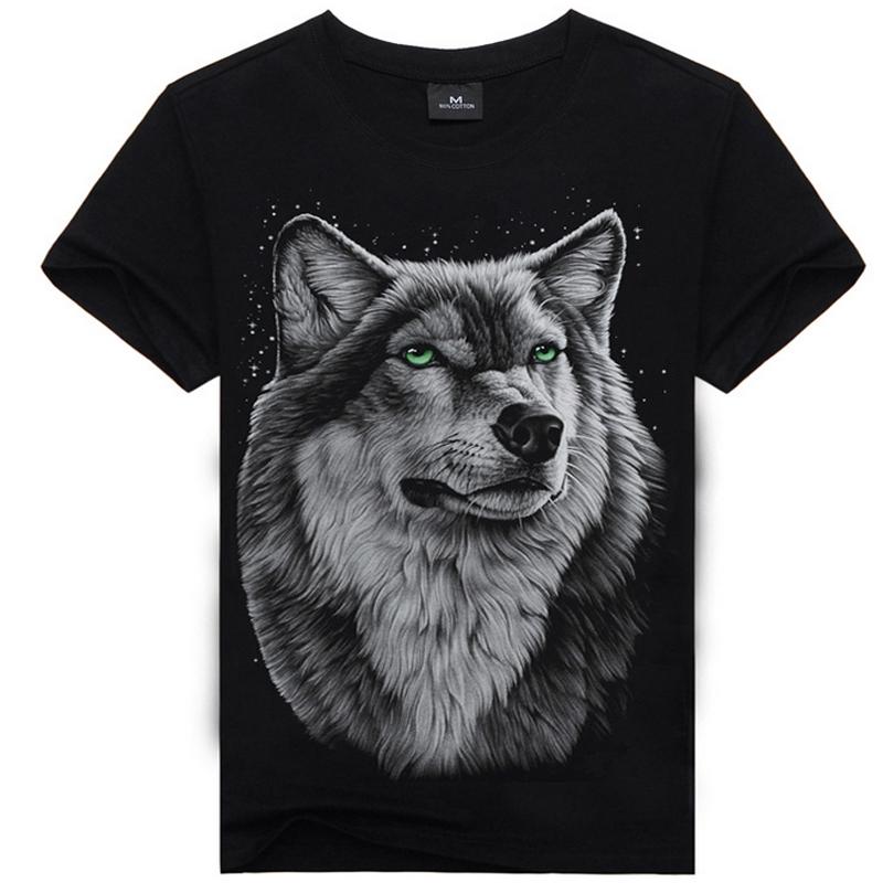 T shirt Men Hot Selling 2015 Summer Style New 3D Printed Tiger Wolf Skull Printed Mens T shirt 100% Cotton Casual Brand T-shirt(China (Mainland))