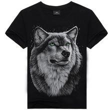 T Shirt Men Hot Selling 2015 Summer Style New 3d Printed Tiger Wolf Skulls Printed Mens T Shirt 100% Cotton Casual Brand T-Shirt