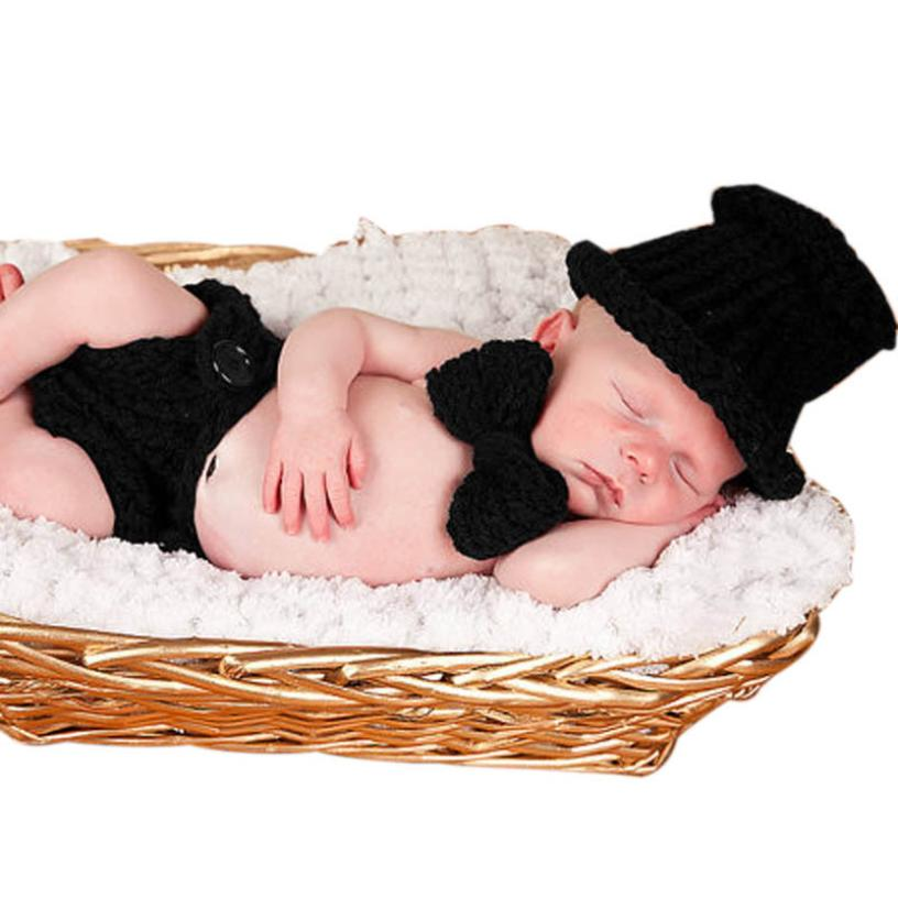Baby Boy Crochet Knitted Photo Photography Props Outfit clothing for newborns fotografia Costume Hat+Pants+Bowknot 3Pcs/Set(China (Mainland))