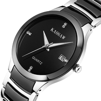 Kassaw Male Business Casual Rhinestone Ceramic Wristwatches Waterproof Stainless Steel Mens Ceramic Ladies Black Lovers Watch