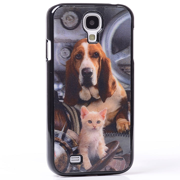AMAZE 3D MOVIE EFFECT cute dog cat iron plate dish innocent PC Hard Back Shell Cover protective Case For Samsung GALAXY S4 i9500(China (Mainland))
