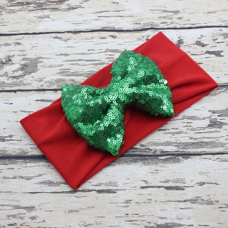 Christmas Big Bow Headband Red White Green Baby Headband Sequin Bow Jersey Knit Baby Headwrap Girls Hair Accessories(China (Mainland))