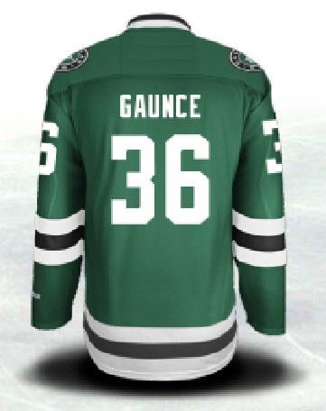 Free Shipping Men's Dallas Stars Ice Hockey Jerseys GAUNCE #36 Jersey (HOME GREEN),Authentic #36 GAUNCE Jersey,Size S-3XL(China (Mainland))