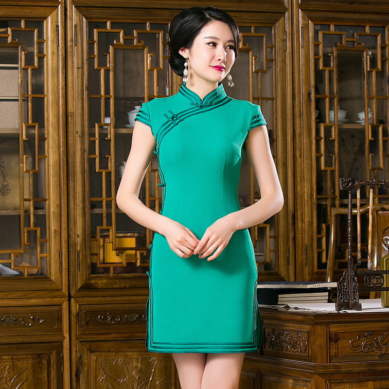 2016 New Arrival Chinese Traditional Womens Green Cotton Mandarin Collar Solid Qipao Mini Cheong-sam Dress S M L XL XXL F201631Одежда и ак�е��уары<br><br><br>Aliexpress