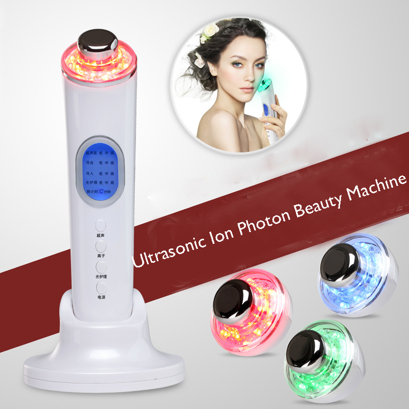 Фотография Rechargeable Sonic Ionic Face Lift Led Light Photon Therapy Facial Care Beauty Massager Machine