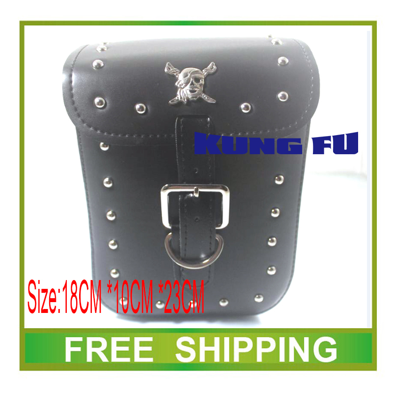 125cc 150cc 200cc 250cc 300cc Motorcycle SaddleBag pu Leather skull travel saddle Bag Luggage chopper accessories free shipping(China (Mainland))