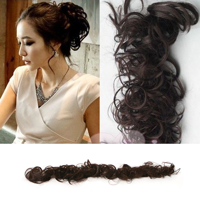 Women Clip On Dish Hair Bun Tray Ponytail Extension Hairpiece