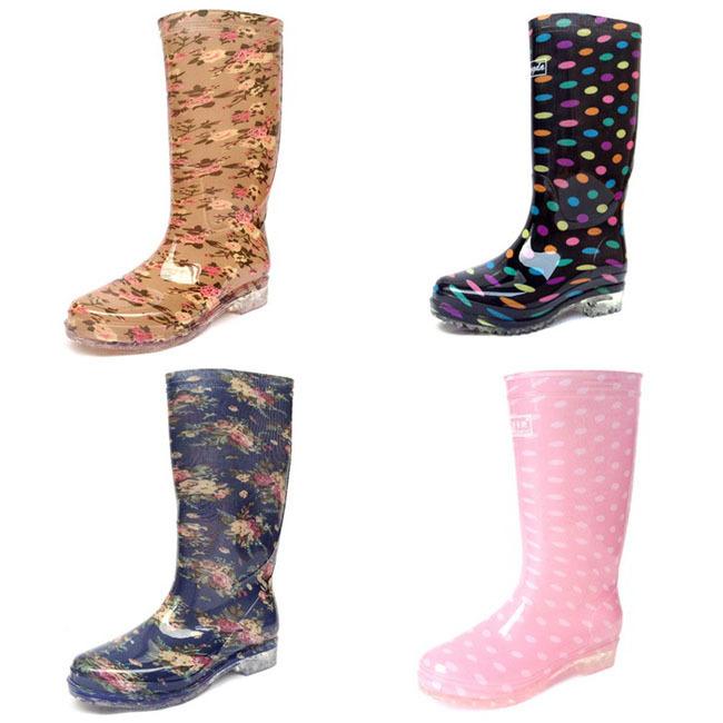 XWN0040-5 High Quality Women Knee High Boots Waterproof Rain Boots Woman Flat Heels Floral Female Rain Shoes 8 Colors Rainboots(China (Mainland))