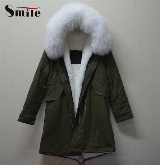 Women Russian Real Nature Raccoon Fur Winter Jacket Woman White Fur Collar Jacket Parka Natural Mr Fur Lined Hood Jackets ParkaОдежда и ак�е��уары<br><br><br>Aliexpress