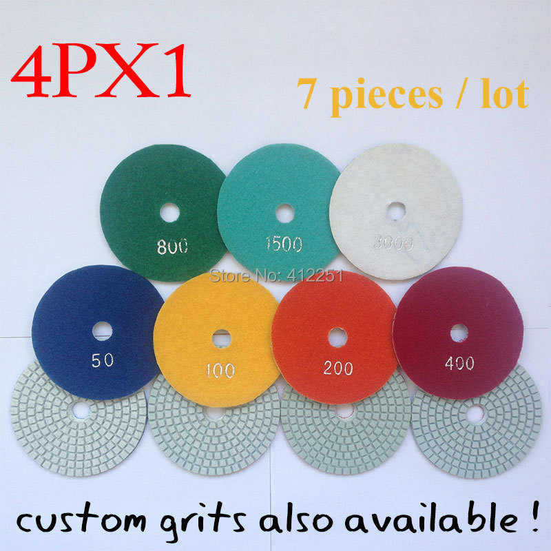 Diamond polishing pads disc sander pad 4 inch wet 3 mm thick 7 pieces set granite stone marble tile concrete polishing 4PX1(China (Mainland))