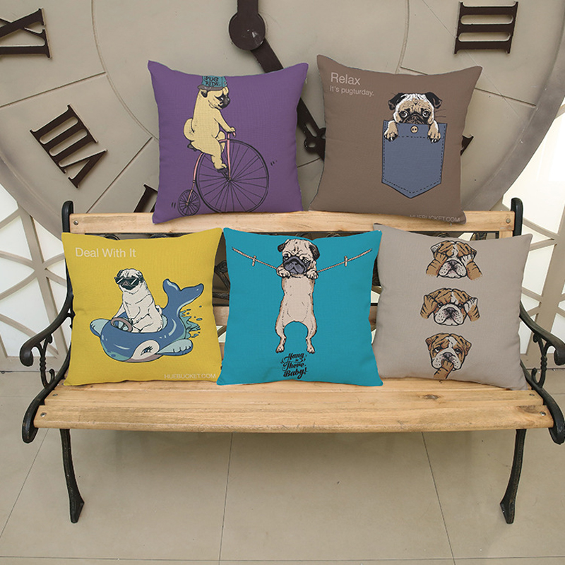Cushion Cover Home Throw Decorative Pillows Watercolor Five Different Style Dog Pattern Sofa Throw Pillows Factory Direct Sale(China (Mainland))