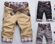 FD2153 Leisure Fashion Korean Stylish Mens Short Pants Lattice Flanging Cropped Trousers(China (Mainland))