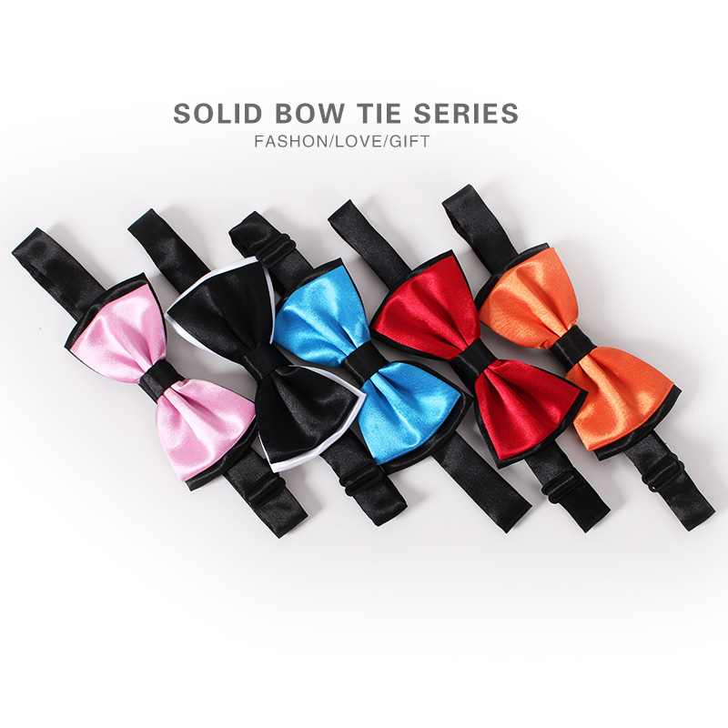 Cheap & Good Wedding Solid Color Bow Tie Polyester Silk Double Bowties Dress Neckwear Cravate Noeud Papillon Classic Men Bowknot(China (Mainland))