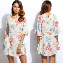 Buy 2017 Party Clothes Plus Print Women'S Beach Floral Half Sleeve Women Pockets Long Size Dresses V-Neck Mini Clothing Summer Dress for $11.72 in AliExpress store