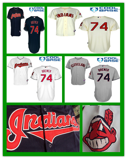 Hot Sale Kids Cleveland Indians Jersey #74 Charles Brewer Jersey Youth Embroidery logo Cool Base Authentic Baseball Jerseys(China (Mainland))