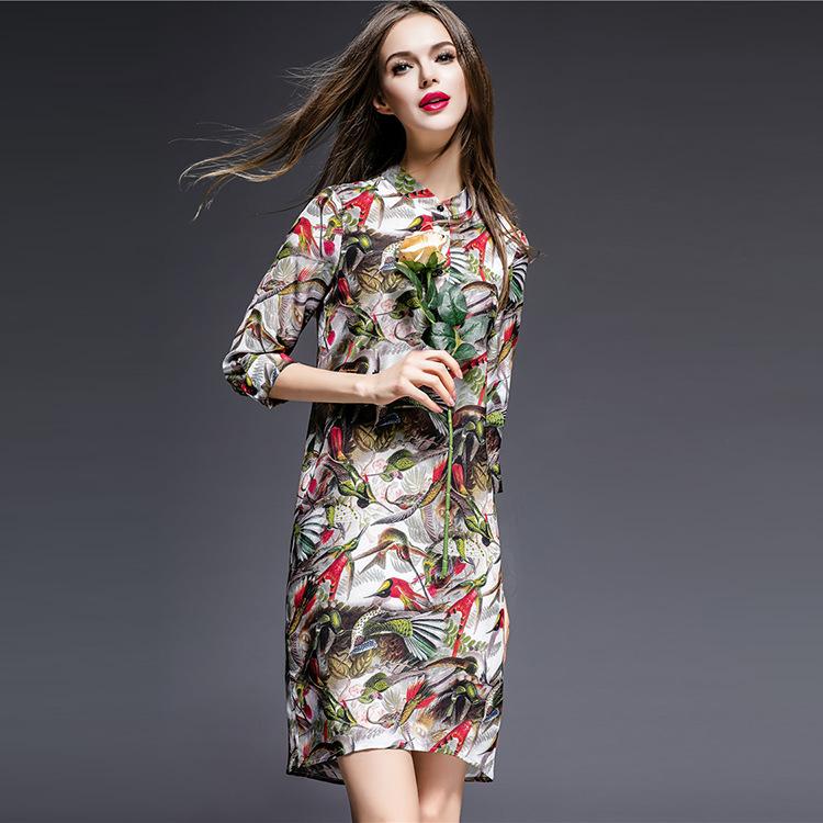 Shenzhen Nanyou 2016 new spring dress silk printing auspicious folk style peacock shirt dress