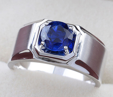 Men's 925 Silver Round Blue Sapphire CZ Crystal Stone Solitaire Wedding Ring Eternity Jewelry(China (Mainland))