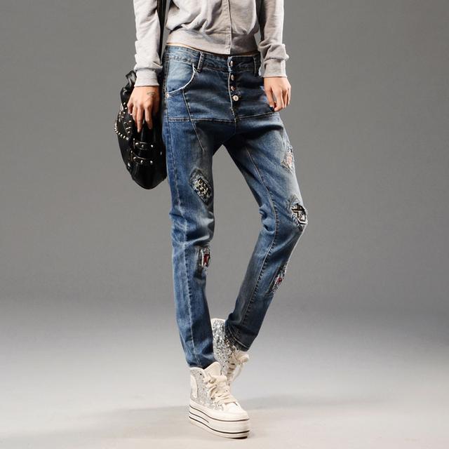 Новый корейский мода джинсы женщина свободного покроя широкий шаровары грудью лоскутная ...