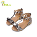 J Ghee 2017 Summer Kids Shoes Girls Sandals Princess Bowtie Shiny Bright Skin Patent Leather Shoes
