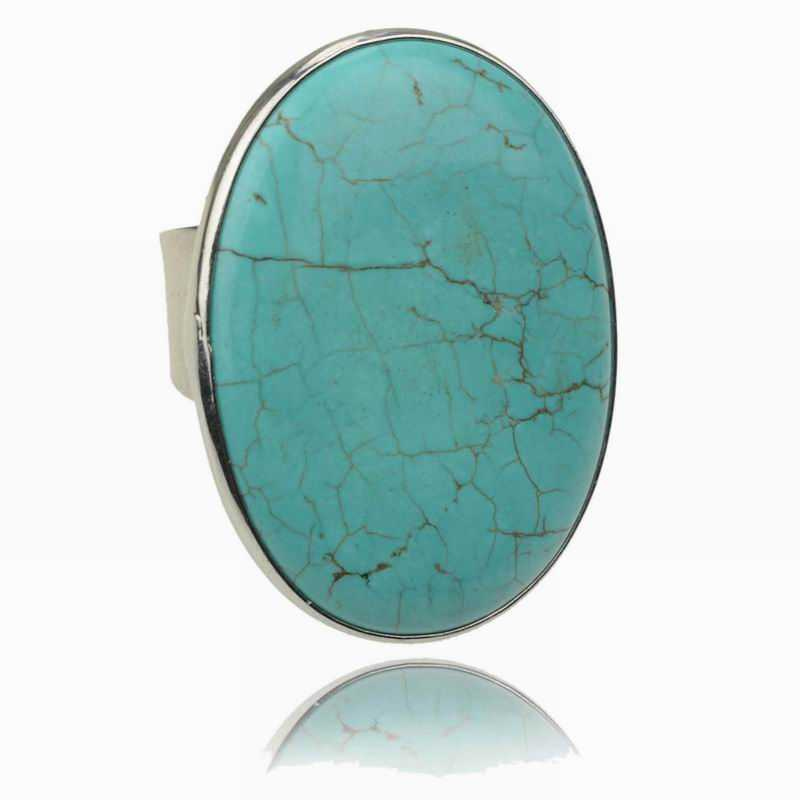 Exaggerated Finger Rings 2015 New Round Genuine Turquoise Rings For Women Green Silver Plated Fashion(China (Mainland))