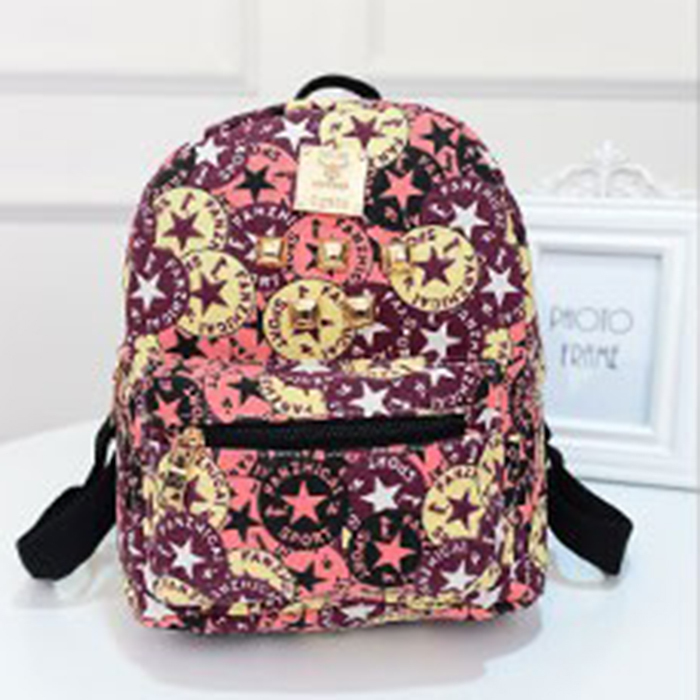 Mochilas 2015 New Softback Summer Leather Women Backbag Simple Fashion Printed Multi Colorful Mini BackPack Foreign Trade Hot(China (Mainland))