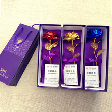 24k Gold Rose Foil Flowers Jewelry for Women  Lovers Valentine's Day Handcrafted Gifts with Box for Mother Birthday's Gift(China (Mainland))