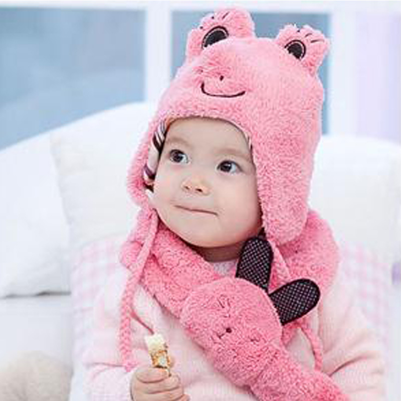 2015 Frog Cartoon Baby Hat and Scarf Set Warm Kids Beanie Hat with Ears Velvet Solid Soft Caps for Newborns Sheep Fur Girls Hats(China (Mainland))