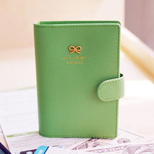 4 Color Sweet Bowknot Buckles Passport ID Card Holder Protect Cover Case Free Shipping