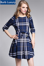 True Picture 2016 British Summer Burbe Brand Women Half Sleeve Dress Casual Checks Knee-Length Dresses with Sashes Lady Dresses(China (Mainland))