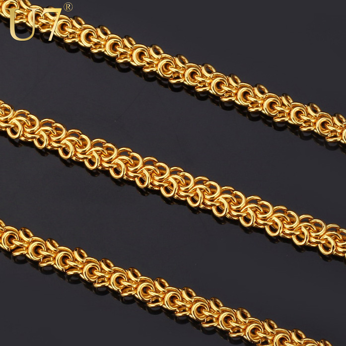"U7 ""18K"" Stamp 18K Real Gold Plated Fashion Jewelry Wholesale New Hiphop Style Round 55 cm Rope Chains Necklaces For Men N354(China (Mainland))"