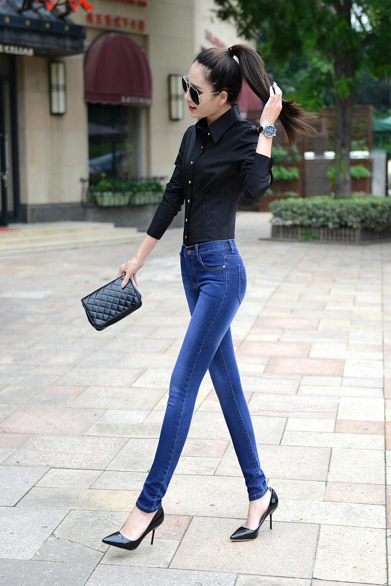 Скидки на 2016 Новых прибытия стиль Женщины Джинсы упругие тонкий slim fit Ковбой Джинсы 8902