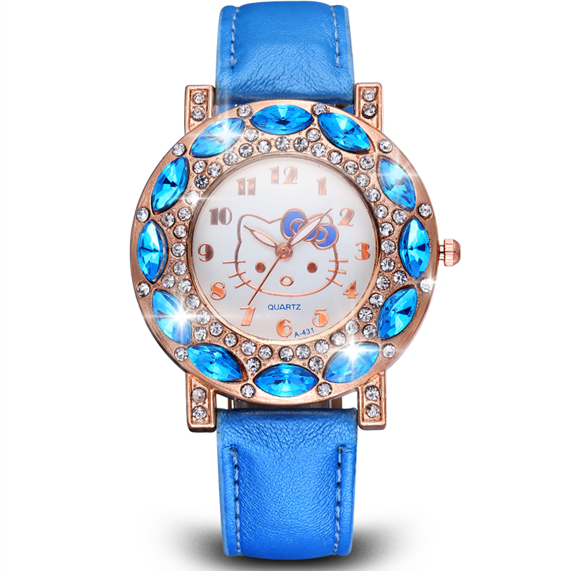 Hello Kitty Famous Brand Women Watches Quartz Cartoon Big Diamond Cute Watch Clock Child Girls New Fashion Style Relogio feminin(Hong Kong)
