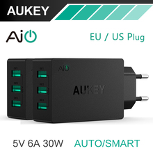 Aukey Universal Travel USB Charger Adapter Wall Mobile Phone 5V6A Smart Charger for iPhone Tablet Xiaomi Red HTC SONY LG US Plug(China (Mainland))