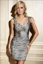 Best Selling Freeshipping Sheath Gray Satin Cocktail Dress(China (Mainland))