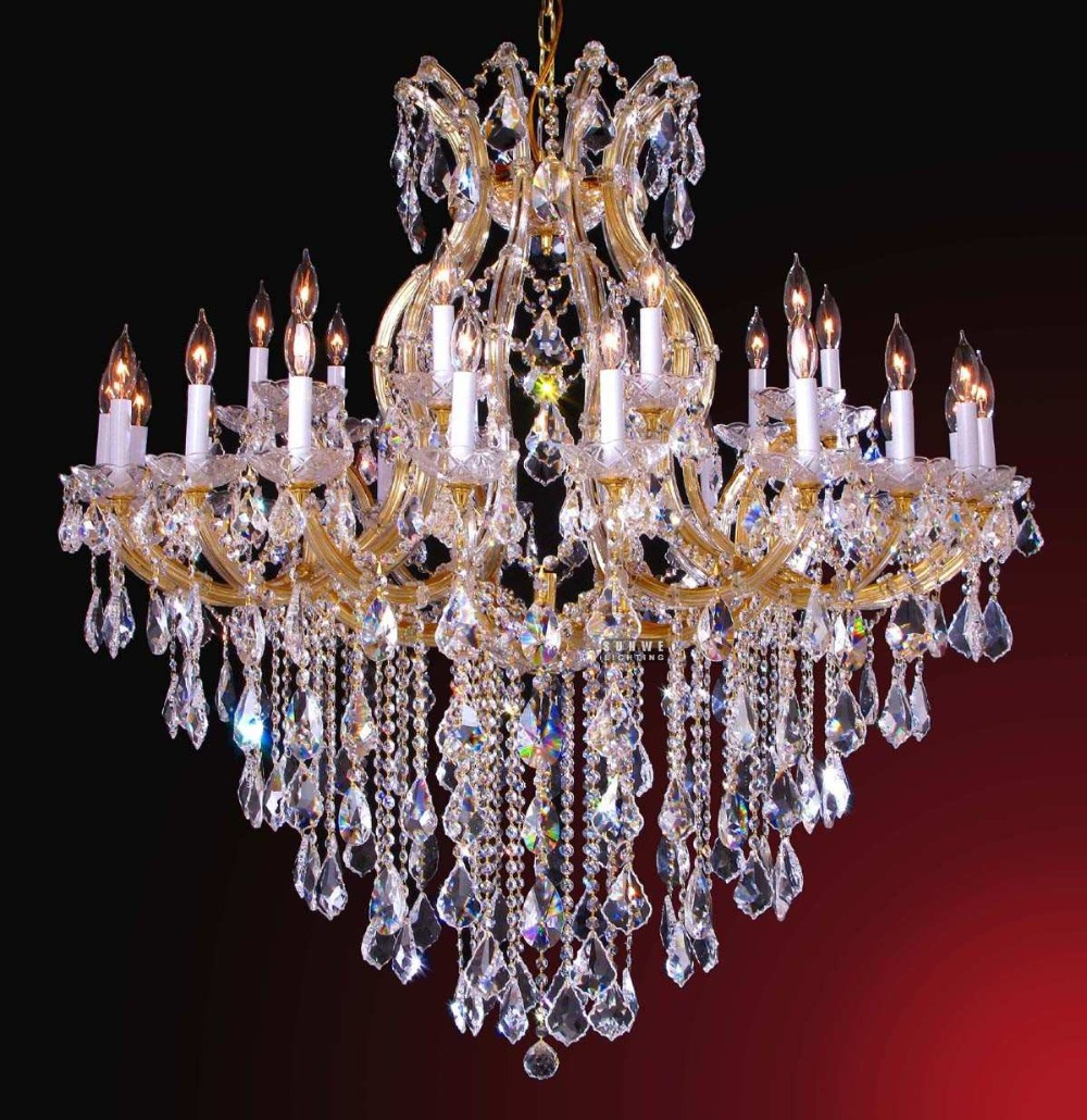Wholesale candle gold chandelier lighting 31 lights Crystal candle chandelier