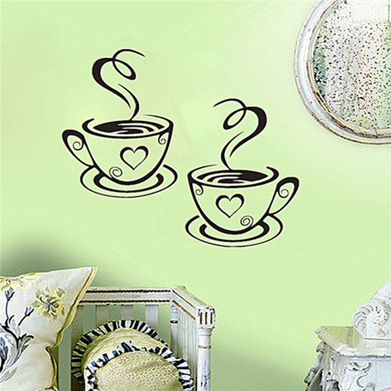 Newest Beautiful Design Coffee Cups Cafe Tea Wall Mural Vinyl Art Decal Kitchen Restaurant Wall Decor Y-256(China (Mainland))