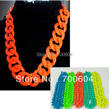 large size 70cm*3.5cm fashion punk neon colorful candy color hiphop jazz chain costume Statement necklace  wholesale