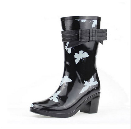 High Heel Female Rainboots Ladies Rubber Shoes Women Mid-calf Water Shoes Heels Rain Boots WaterProof Boots Free Shipping