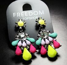 Bohemian Fluorescence Flower Dangle Chandelier earrings Stud With Crystal Rhinestone  Fine Jewelry Summer Beach Style For Women(China (Mainland))