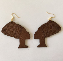 6CM Coffee Color Handmade Queen Nefertiti Wood earrings afro earring Symmetrical design for Mother's Day 5pairs/lot WL-161(China (Mainland))