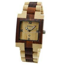 De dos colores mezclados sana y natural de arce y sandal wood hechos a mano barato reloj hombres miran