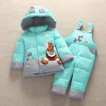 Мальчик девочка тёплый зима верхняя одежда пальто малыша ползунки вниз куртка одежда комплект дети вниз парки пальто подходит 6 - 24 месяц