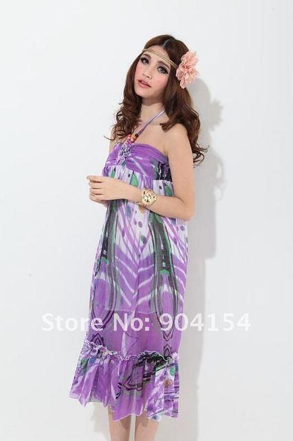 Free Shipping Purple Bohemian Style Dress BOHO Dress Halter Bohemian Dress