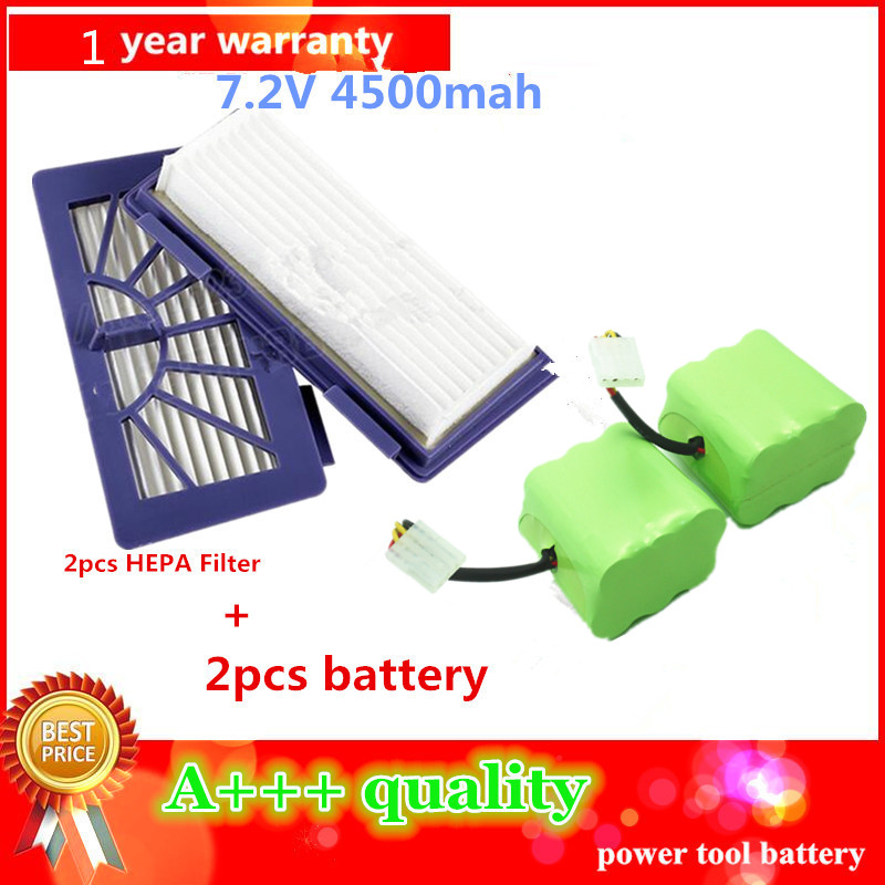 2pcs/1lot 4500mAh vacuum Cleaner Battery for Neato XV-11 XV-12 XV-14 XV-15 XV-21Cleaner High quality Battery+HEPA Filter(China (Mainland))