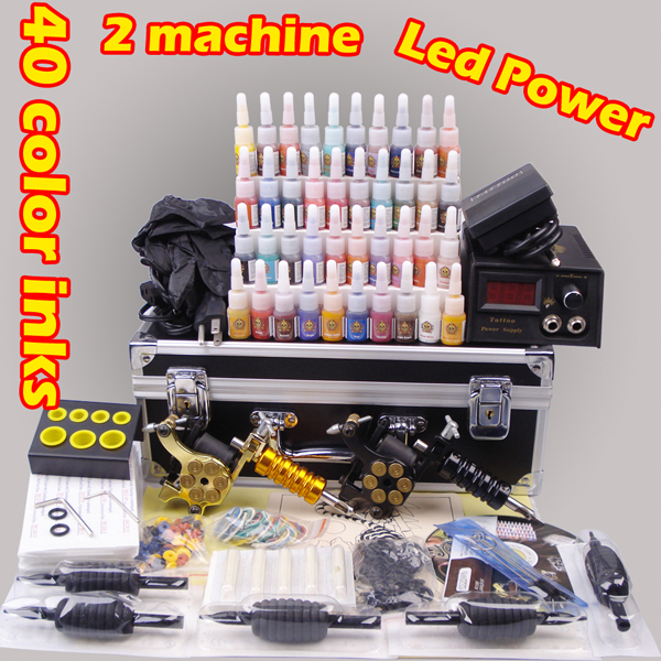Complete tattoo machine kit for beginners digital tattoo set YLT-111 permanent makeup machine 40 color inks(China (Mainland))